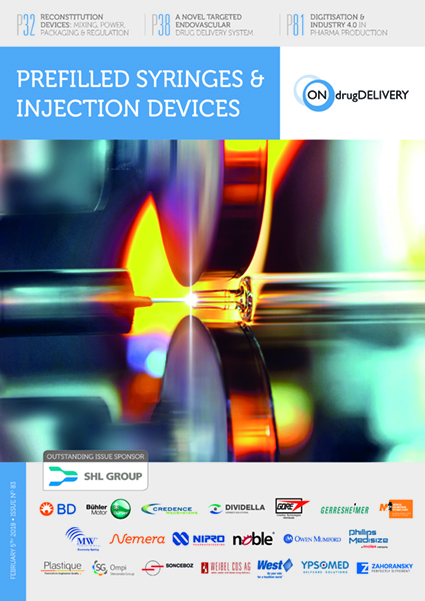 #83 Feb 2018 Prefilled Syringes & Injection Devices - ONdrugDelivery - Issue Cover