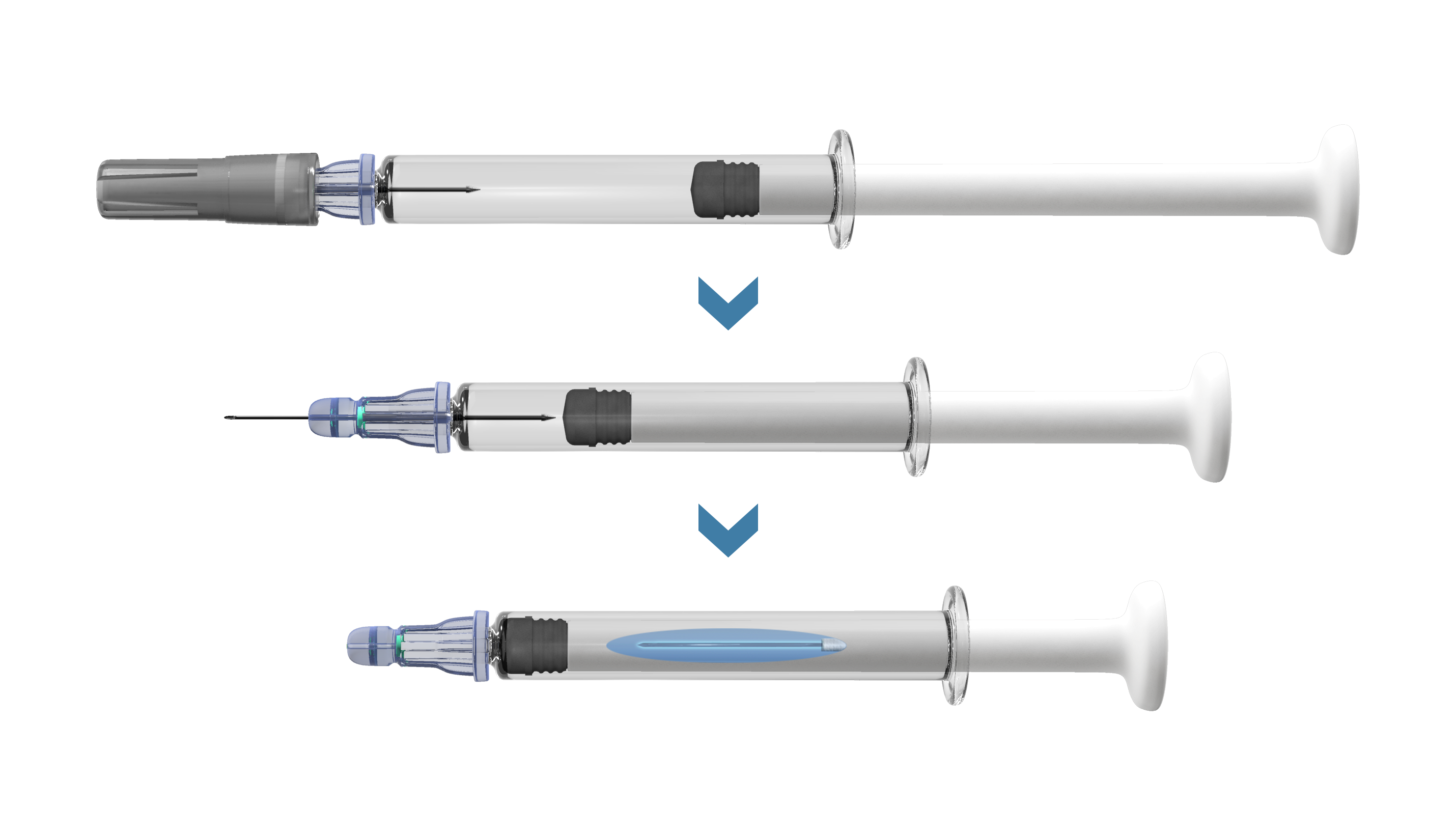 Figure 2: With the Credence Companion®, the user performs the injection, receives end-of-dose cues and then the needle automatically retracts into the syringe, preventing re-use.